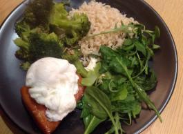 Salmon, poached egg, brown rice