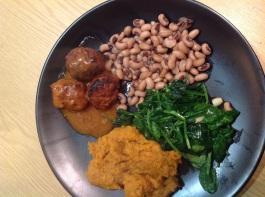 Meatballs, sweet potato mash, spinach, black eyed peas