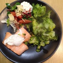 Salmon salad broccoli, poached egg on top!